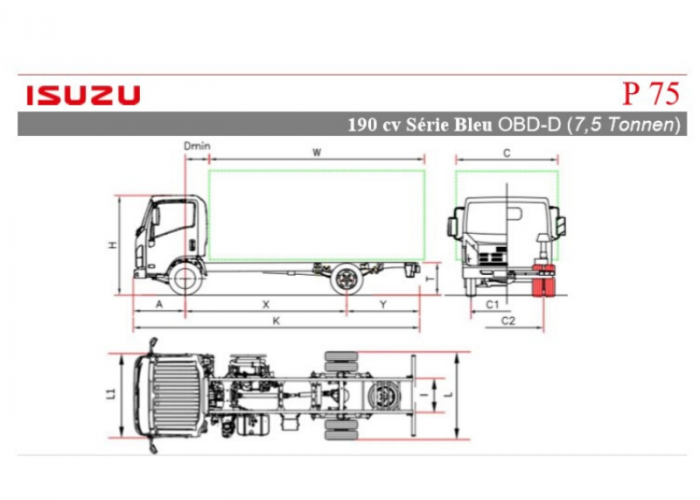Preisliste und technische Form Isuzu P75 190