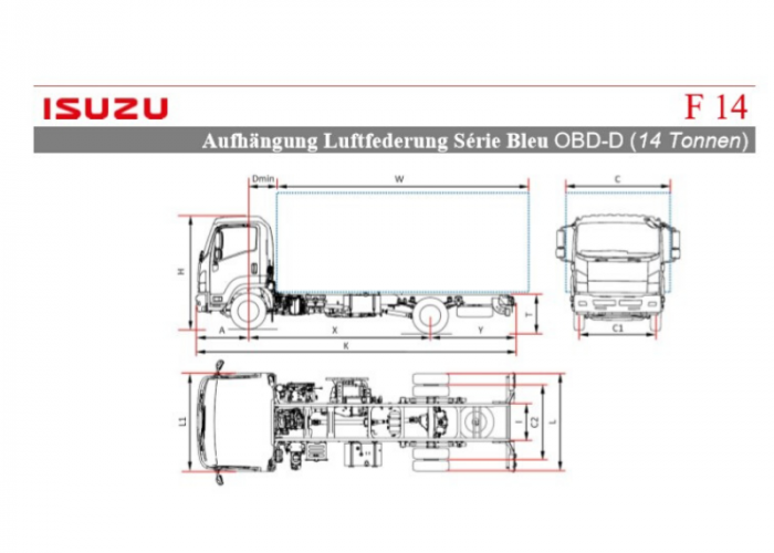 Preisliste und technische Form Isuzu F14 Luftfederung
