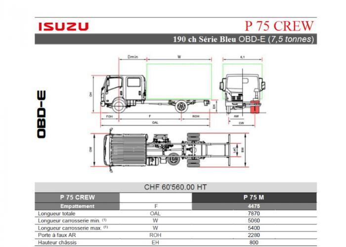 Catalogue Isuzu P75 CREW 190cv
